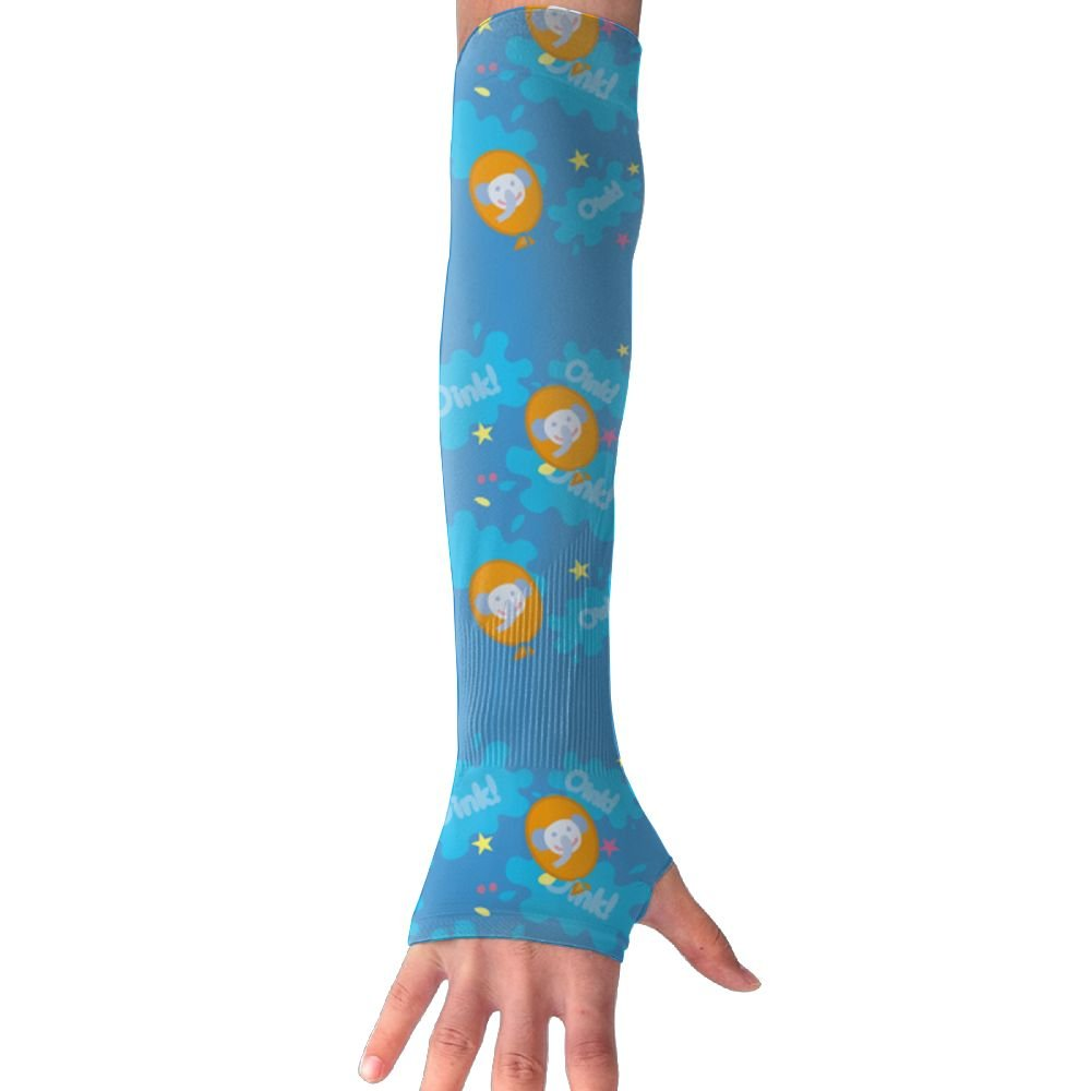Mossey Raymond Unisex Outside Athletic Hand Cover Cooling UV Protection Arm Sleeves - 1 Pair, Small Elephant Giraffe - Blue Pattern