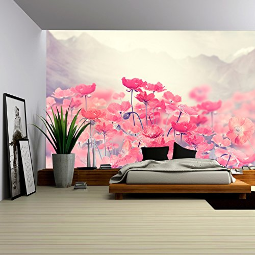 Floral Wall Murals - wall26 - Field Of Bright Red Poppy Flowers - Removable Wall Mural | Self-adhesive Large Wallpaper - 100x144 inches