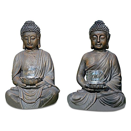 WHW Whole House Worlds Set of 2 Dhyana Mudra Buddha Statues Holding Lotus Flower, Glass Tea Light Holders, Each 16 Inches Tall, Museum Quality Reproduction, from The Serenity Collection