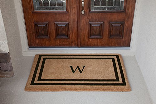 Luxury Coir Monogrammed - Double Picture Frame (Black) W 22 x 36 (Door Mat Personalized Double)