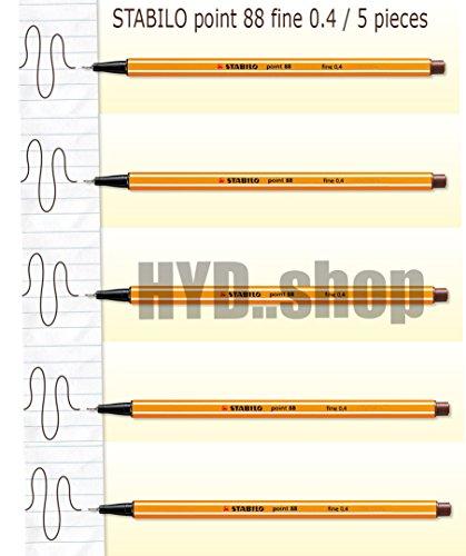 Stabilo point 88 pens set 0.4 mm (5 Pcs./ Pack) Brown ink