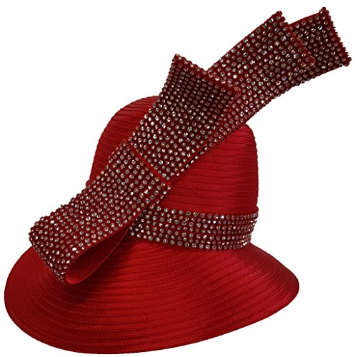 Womens Hats Church Hat Dressy Formal Designer Satin Ribbon Hat Red by Swan Hat