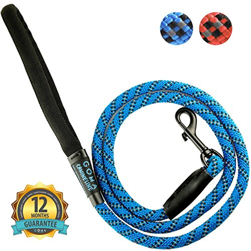 GOMA Soft reflective Dog training Leash- Quality bright no-pull nylon increased safety for night walking - for Medium and Large breeds - ergonomic anti slip grip made with mountain climbing rope