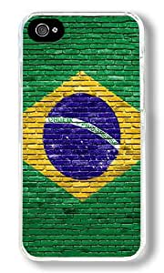 Brazil Custom iPhone 4S Case Back Cover, Snap-on Shell Case Polycarbonate PC Plastic Hard Case Transparent