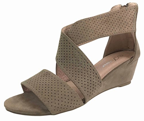Criss Cross Wedge Sandal - Forever Collection Womens Wedge Heel Fashion Sandals Perforated Faux Leather with Criss Cross Straps, Taupe, 7