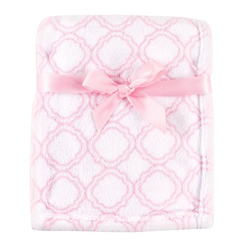 Luvable Friends Print Coral Fleece Blanket, Pink Damask