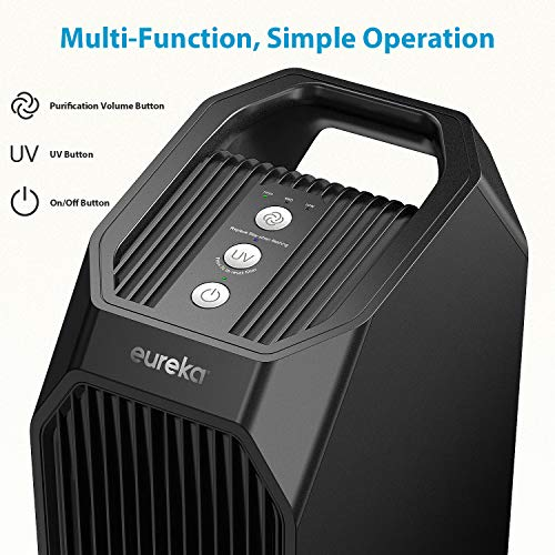Eureka Instant Clear 26' NEA120 Purifier, 3-in-1 True HEPA Air Cleaner with Carbon Activated Filter and UV LED, for Allergies, Pollen, Pets, Odors, Smoke, Dust, Black