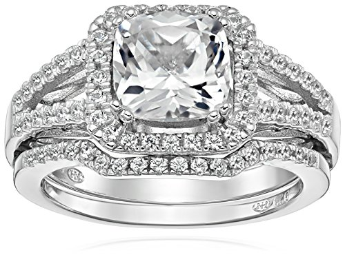 Sterling Silver Created White Sapphire Split Shank Engagement Ring, Size - Shank Twist Ring