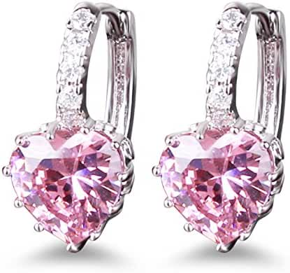 GULICX Heart shape Created Pink sapphire Cubic Zirconia Silver Tone hoops shiny earrings