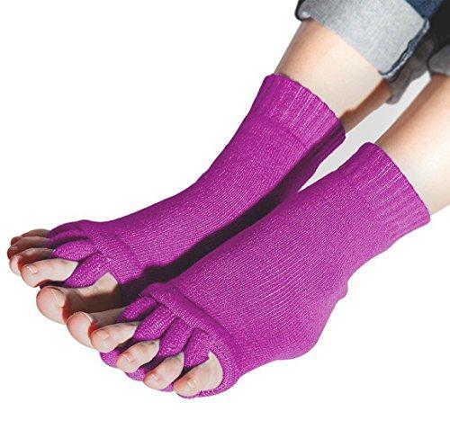 Flesser® Yoga Sports GYM Five Toe Separator Socks Alignment Pain Health Massage Socks (Purple)