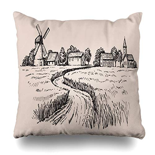 Ahawoso Throw Pillow Cover Wheat Hand Drawn Doodle Country Harvest Field Village Farm Windmill Design Home Decor Pillowcase Square Size 18