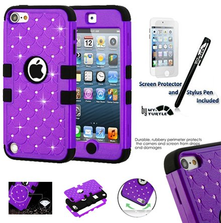 MYTURTLE Shockproof Hybrid Case Hard Silicone Shell High Impact Cover with Stylus Pen and Screen Protector for iPod Touch 5th 6th Generation, Diamonds Purple Black (Skin Silicone Snap)