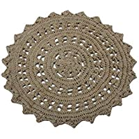 Spura Home Javas Collection 3' Round Tan 100% Jute Crochet Rug
