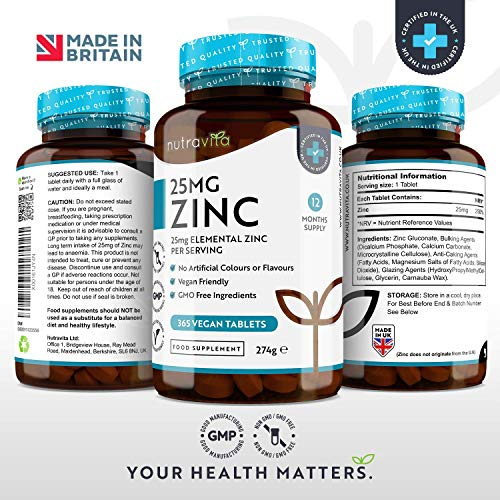Zinc-Tablets-25mg–365-Vegan-Tablets-12-Months-Supply–Zinc-Tablets-High-Strength-for-Maintenance-of-Normal-Immune-System-Bones-Hair-Skin-Nails–Made-in-the-UK-by-Nutravita