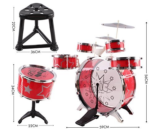 Kids Drum Set Children's 13 PC Musical Instrument Drum Play Set w/ 6 Drums, 3 Cymbals, Chair, Kick Pedal, Drumsticks (Red Color)