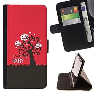 Rojo Negro Árbol calabaza Scary- Modelo colorido cuero de la carpeta del tirón del caso cubierta piel Holster Funda protecció Para HTC One M8