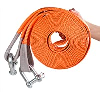 JIC PRODUCTS CAR TOWING BELT 50MM X 3MTR LONG HEAVY DUTY STRAP WITH TWO HEAVY D CLAMPS FOR VEHICLE TOWING (ORANGE/RED/BLUE/YELLOW)