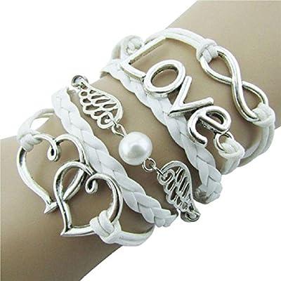 Susenstone Style Jewelry fashion Leather Cute Infinity Charm Bracelet