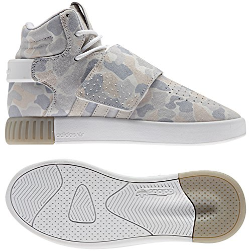 Adidas Junior Edge - adidas Originals Boys' Tubular Invader Strap J Sneaker, White/White/Light Grey Heather Solid Grey, 6 M US Big Kid