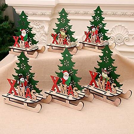 Addobbi Natale.Iaywayii 2020 Nuovo Anno Decorazione Santa Snowman Elk Natale Slitta Addobbi Natalizi Per La Casa Mestieri Jigsaw Regali Di Legno Amazon It Casa E Cucina