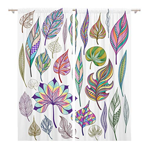 Tinmun 104 x 84 Inch Decorative Drapes Green Botanical of Colorful Abstract Leaves Orange Leaf Autumn 2 Panels Window Curtains for Living Room Bedroom Printed