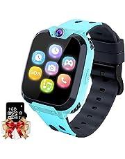 Barnspel Smartwatch MP3-spelare Musikklocka - [1GB Micro SD ingår] Pekskärm 2-vägs samtal SOS väckarklocka spel kamera armbandsur för pojkar flickor semester födelsedag leksaker gåvor (blå)