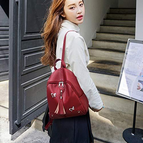 Morbido Da Unita Pelle Moda Moto New Ragazza Pu Shoolbag Red Viaggio Borsa Viso Coreano Zaino Rossa Nera Tinta SzPwZq