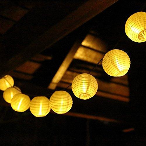 Solar Lichterkette Xpassion 20er LED Lampions Laterne wasserfest Lichterkette Garten Innen- und Außenbereich 4,9 M warmweiß für Party Weihnachten Outdoor Fest Deko usw. [Energieklasse A+++]