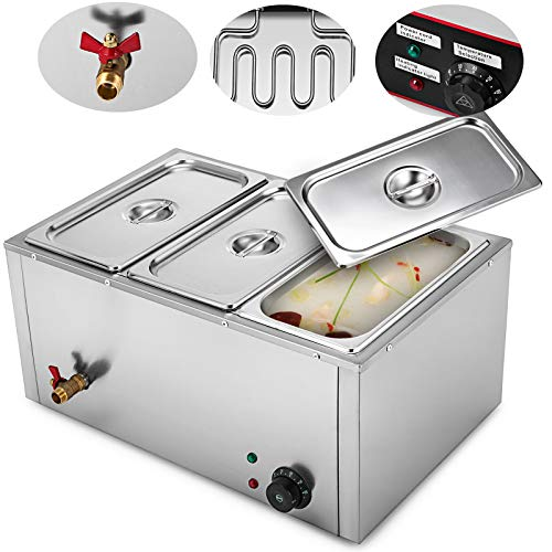 VEVOR Commercial Food Warmer 850W Electric Food Warmer 110V Stainless Steel Bain Marie Buffet Food Warmer Steam Table for Catering and Restaurants (3-Pan) ()
