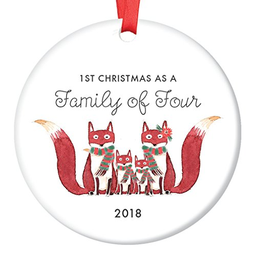 Baby Shower Porcelain - Family of Four Ornament 2018, First Christmas as a Family of 4, Fox Ornament Gift, Cute Foxes Mommy Daddy New 2nd Baby Shower Ceramic Present Keepsake 3