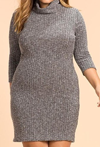 Dress Leisure Grey Hip Oversized Comfy Knit High Package Neck Women's Business qcyWZpWU7