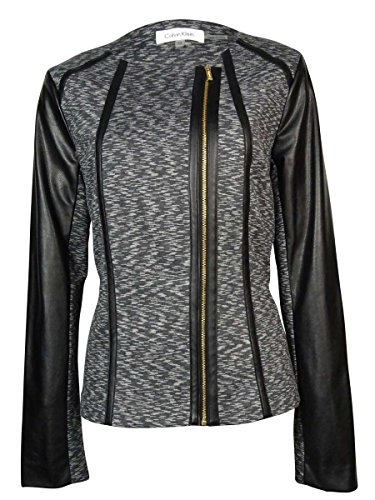 Calvin Klein Women's Slub Ponte Moto Jacket, Grey Wash, X...