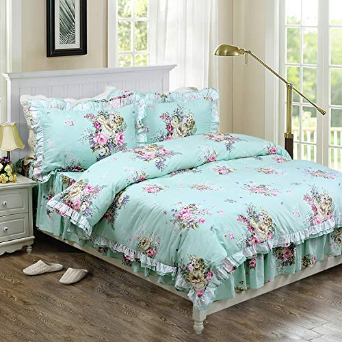 Floral Twin Bedskirt (FADFAY Shabby Green Floral Bedding 100% Cotton Princess Lace Ruffle Girls Duvet Cover Set with Bedskirt, 4Pcs, Twin Size)