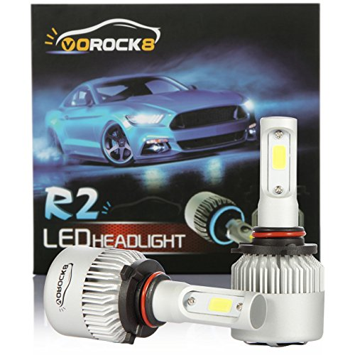 (VoRock8 R2 COB 9005 HB3 8000 Lumens Led Headlight Conversion Kit, High Beam Headlamp Hi Beam Bright Headlights, Halogen Head Light Replacement, 6500K Xenon White, 1 Pair, 1 Year Warranty)