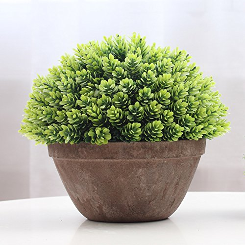 Tree Ball Moss (Supla 1pcs big 8.5 x 11 inch Artificial Topiary Plant Top Plant in Planter Plastic potted plant with pot Plants in Weathered Pot Artificial Topiary Tree Ball Plants Pot)