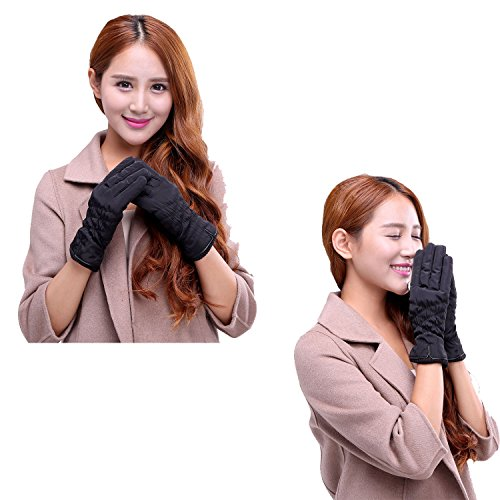 Women Warm Gloves Slightly Waterproof Windproof Winter Touch Screen Thick Fleece Lining Skiing Outdoor Sports
