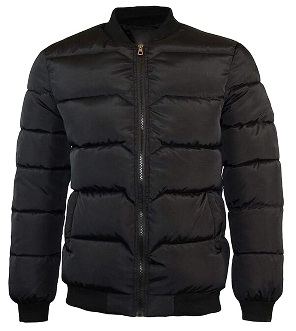 Fubotevic Mens Stand Collar Thicken Full-Zip Winter Down Quilted Jacket Coat Outwear