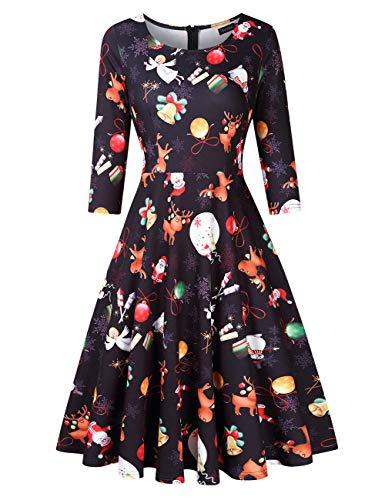 GloryStar Women's 3/4 Sleeve Vintage Christmas Dress Fit Flare A line Cocktail Swing Dresses Xmas Gifts (2XL, Black Xmas)