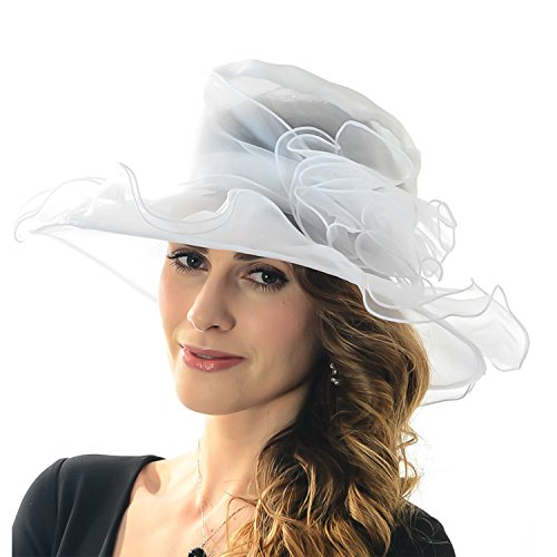 Women's Sheer Wide Brim Sun Party Church Wedding Floral Organza Hat(White) -