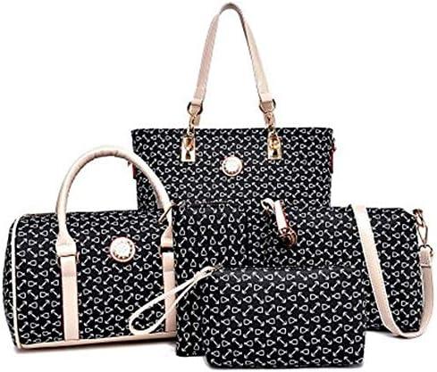 AMAZACER 女性のハンドバッグセット6個PUレザートート財布セット多目的クラシックショルダーバッグ (Color : Black)