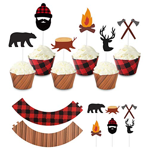 UTOPP 48pcs Christmas Lumberjack Camping Cupcake Toppers Wood Grain Buffalo Plaid Wrappers Woodland Theme Party Decoration for Wedding Bridal Shower Baby Shower Birthday Party Supplies