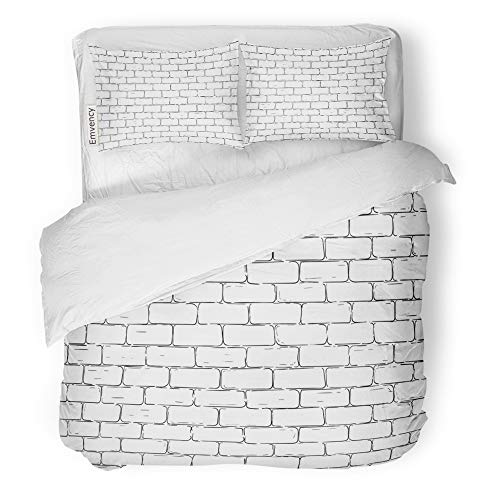 Brick Sketch - Emvency 3 Piece Duvet Cover Set Brushed Microfiber Fabric Breathable Gray Sketch Brick Wall Stone Building Old Vintage Architecture Cement Concrete Bedding Set with 2 Pillow Covers King Size