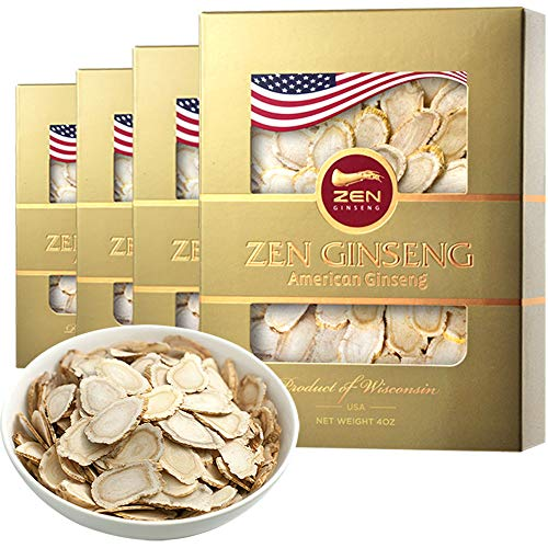 American Wisconsin Ginseng Slice - Big Slice 4oz/Box (4boxes) Performance & Mental Health for Men & Women