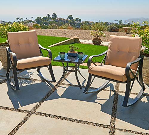 Outroad 3-Piece Rocking Metal Bistro Set Black Outdoor Patio Set Glass Top Table & Thick Cushions for Porch, Garden, Backyard or Pool