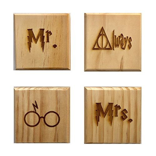 Mr. and Mrs. Coasters, Engraved Set of 4 Wood Coasters - Mr., Mrs., Always, Glasses (Wedding Set)