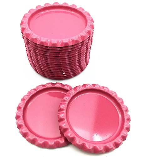 IGOGO 100 PCS Bottle Caps Decorative Bottle Cap for Hair Bows,DIY Pendants or Craft Scrapbooks Pink