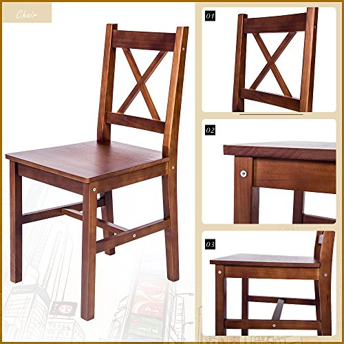 Merax 5 pc solid wood dining set 4 person table and chairs fixtures and beyond - Person dining table and chairs ...
