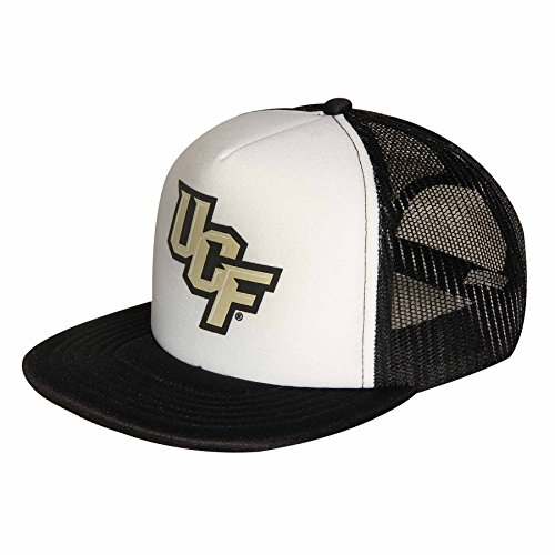 Ouray Sportswear NCAA Central Florida Golden Knights Foam Front Mesh Back Trucker Cap, White/Black, Adjustable Size - Knights Mesh Cap