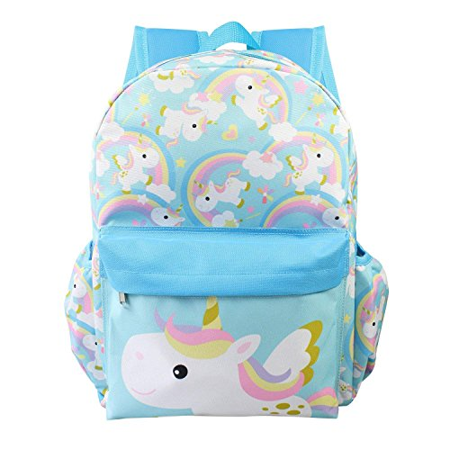 Licensed Unicorn Allover Print 16 inch Girls Large Backpack - Blue