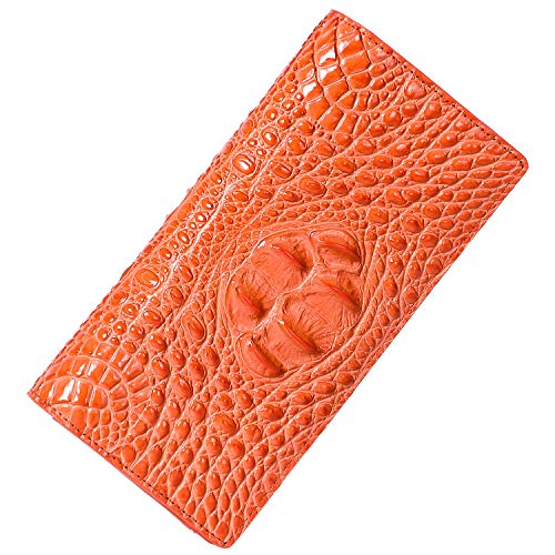 (PIJUSHI Women Leather Wallet Embossed Crocodile Clutch Wallet Card Holder Organizer (359-12 Orange) )